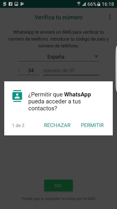 Permisos Contactos WhatsApp