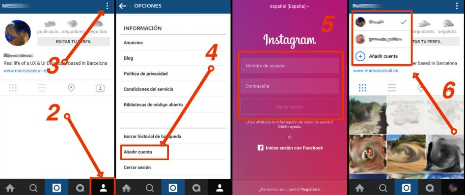 añadir cuentas instagram