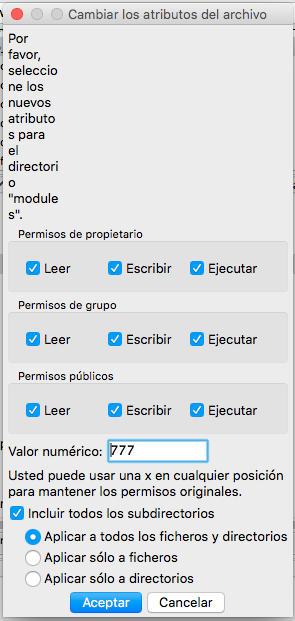 FileZilla asignar permisos