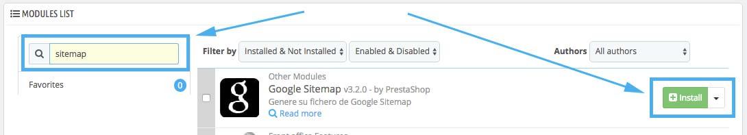 Instalar Sitemap Prestashop