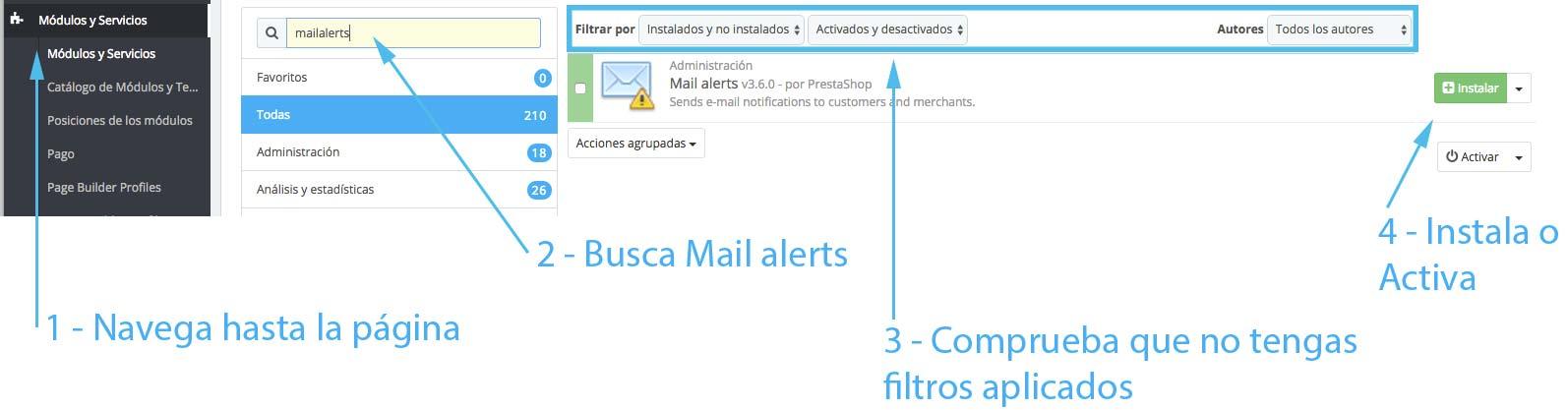 Instalar o Activar Mail Alerts