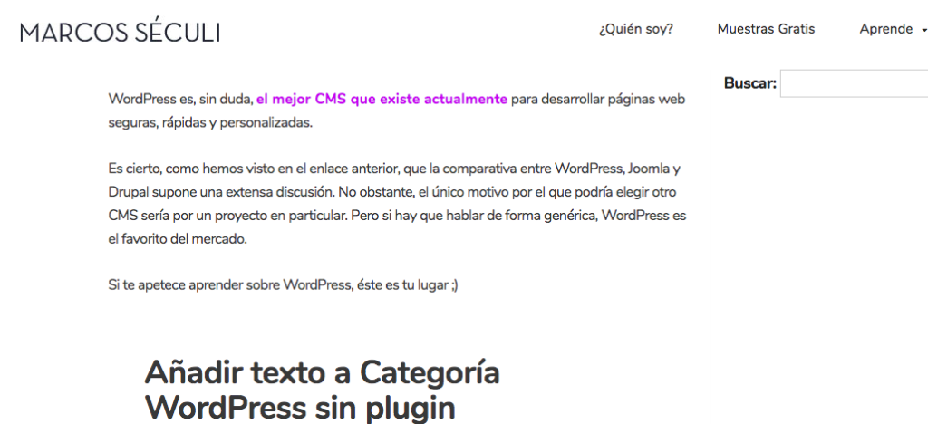 Añadir texto pagina categoria WordPress