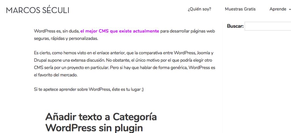 Añadir texto página categoría en WordPress