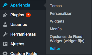 Apariencia Editor WordPress