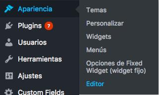 Apariencia Editor WordPress
