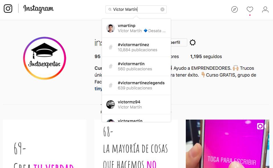 Buscar por Nombre Instagram