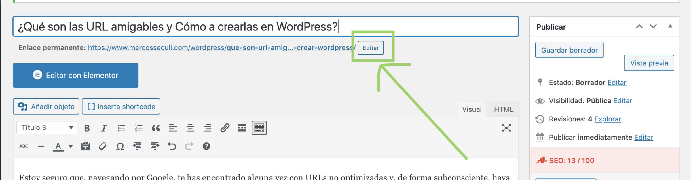 Crear o editar URL amigable WordPress