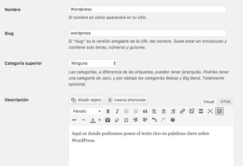 Descripción Categoria WordPress