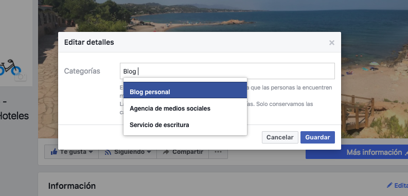 Editar categoria Blog Personal facebook