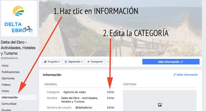 Editar categoria facebook