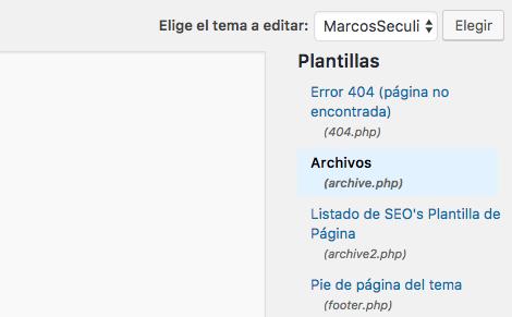 Seleccionar plantilla WordPress