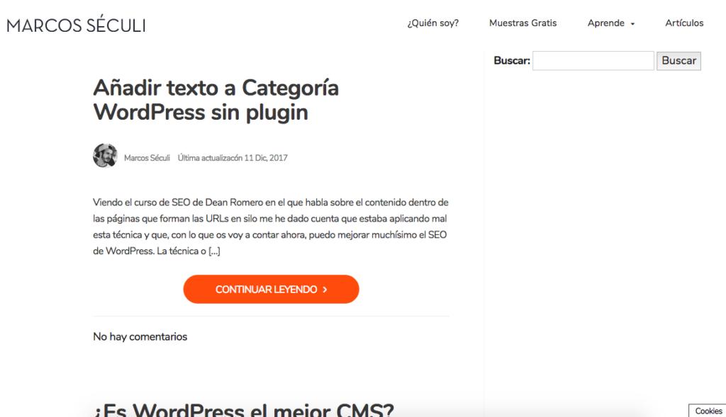 Texto Categoria WordPress