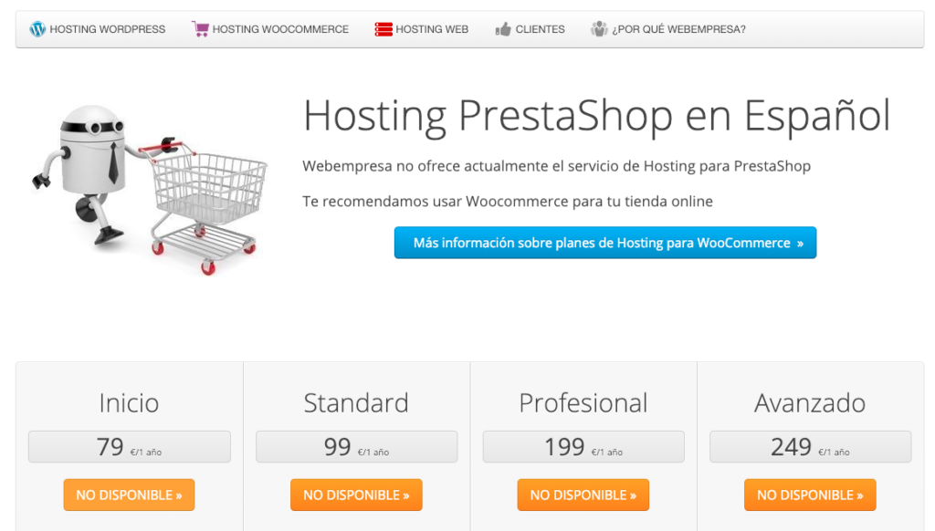 Tienda Online gratis no recomienda Prestashop