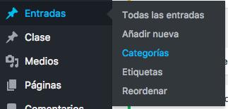 entradas y categorías en WordPress